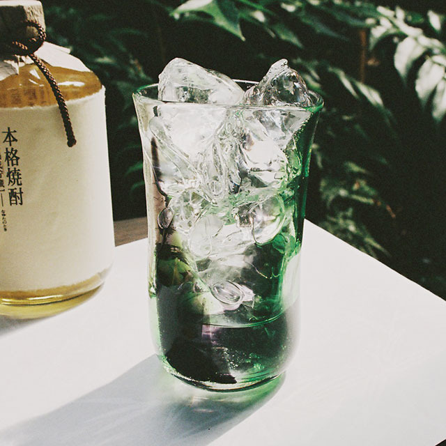 【焼酎グラス】泡巻き・グリーン黒