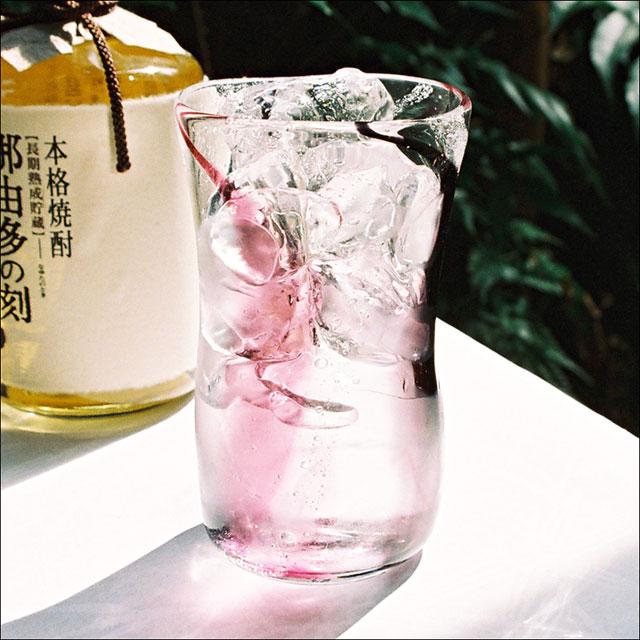 【焼酎グラス】泡巻き・ピンク黒