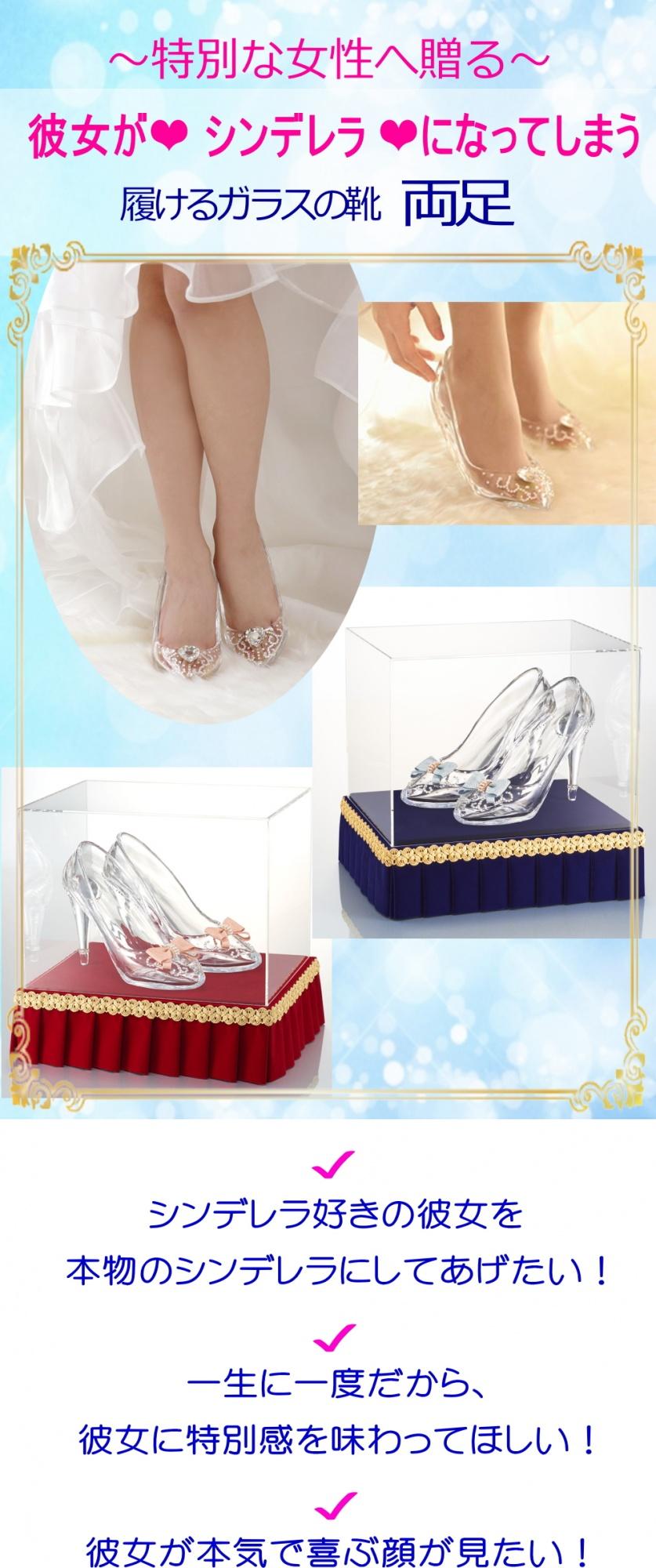 履けるガラスの靴両足