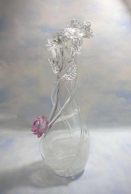 ガラスのバラ花器
