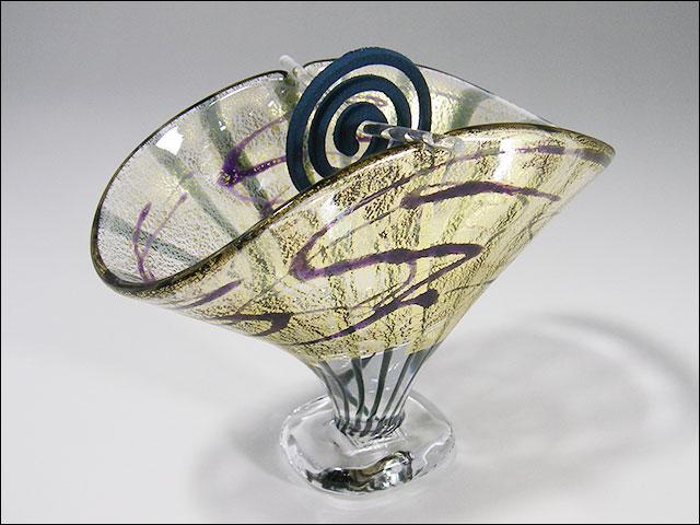 【ガラス香立て】金箔扇香立て・流水文・ムラサキ